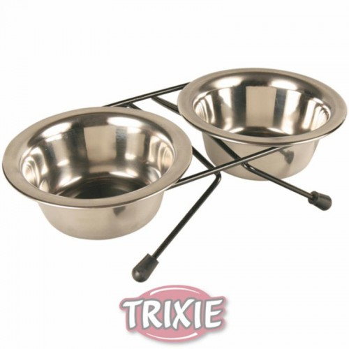 Set comedero doble Acero Inox. Trixie