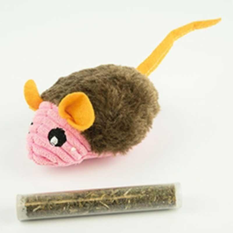 Peluche ratón con hierba gatera