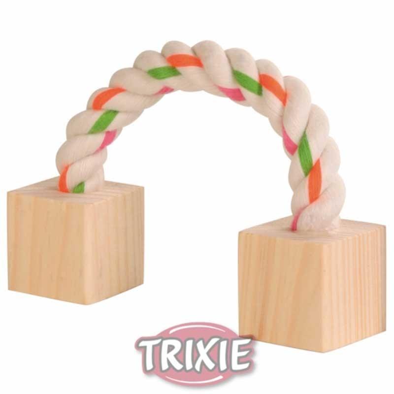 Cuerda con tacos de maderaMedida: 20 cm. - Apto para cobayas y conejos. - Con 2 tacos madera.