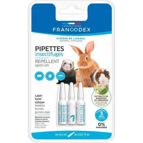 Pipetas repelentes conejos, hurones y cobayas Francodex